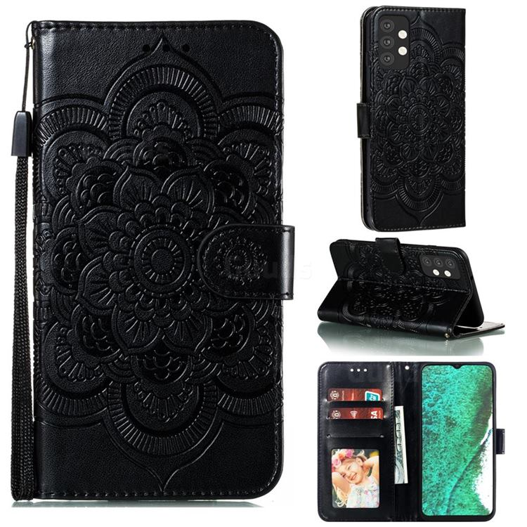 Intricate Embossing Datura Solar Leather Wallet Case for Samsung Galaxy A32 5G - Black