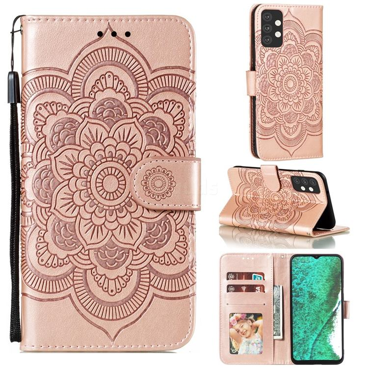 Intricate Embossing Datura Solar Leather Wallet Case for Samsung Galaxy A32 5G - Rose Gold