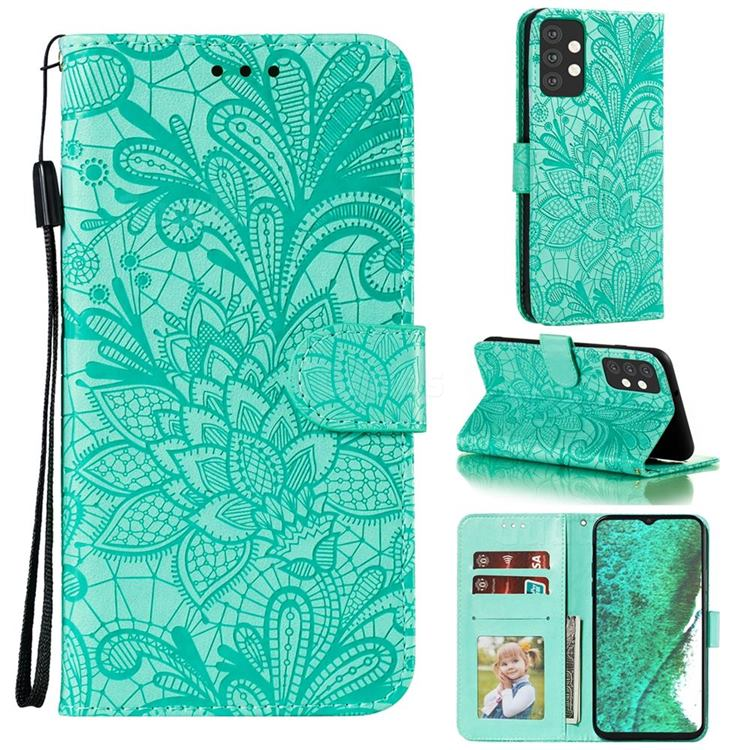 Intricate Embossing Lace Jasmine Flower Leather Wallet Case for Samsung Galaxy A32 5G - Green