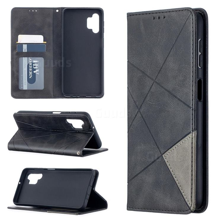 Prismatic Slim Magnetic Sucking Stitching Wallet Flip Cover for Samsung Galaxy A32 5G - Black