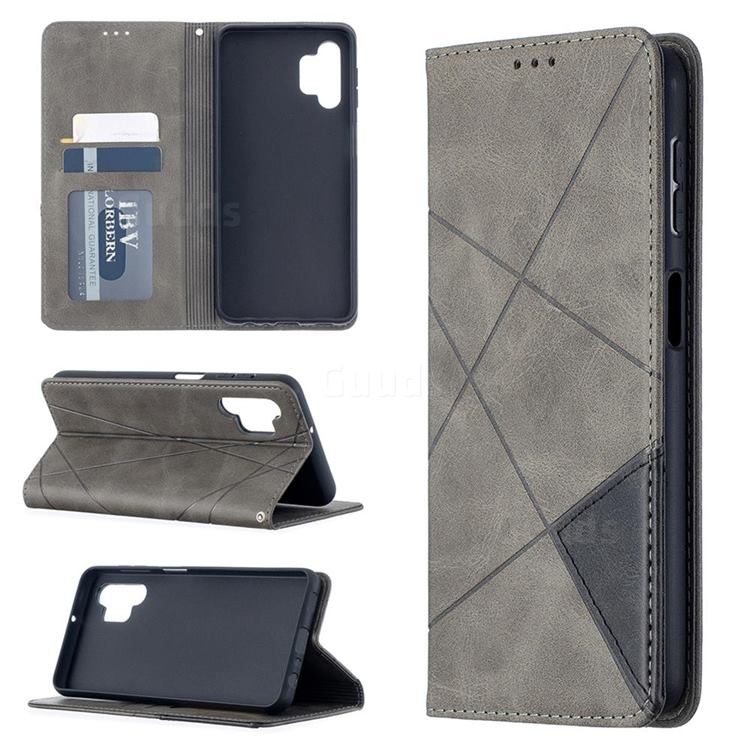 Prismatic Slim Magnetic Sucking Stitching Wallet Flip Cover for Samsung Galaxy A32 5G - Gray