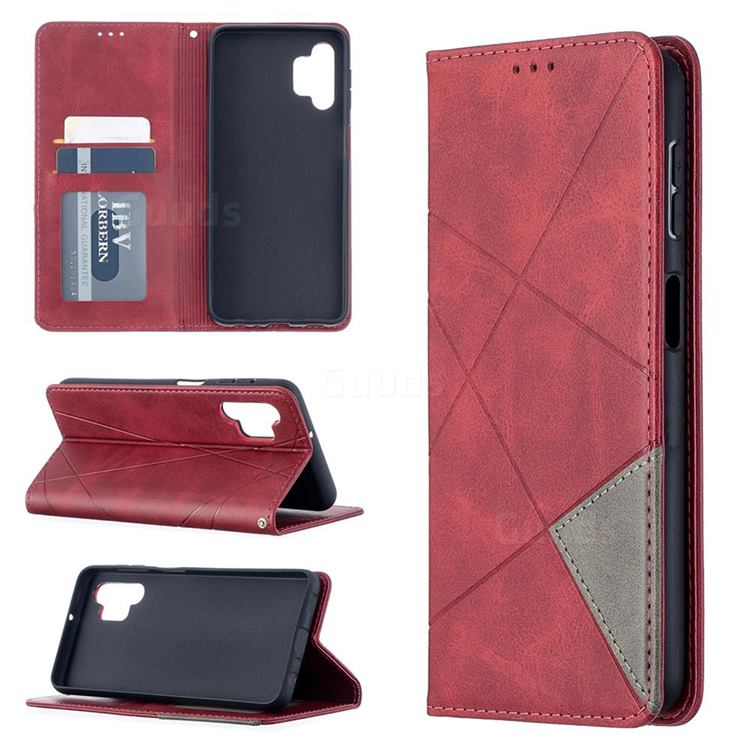 Prismatic Slim Magnetic Sucking Stitching Wallet Flip Cover for Samsung Galaxy A32 5G - Red