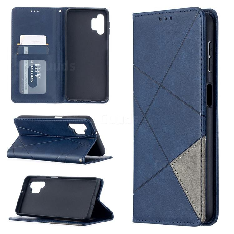 Prismatic Slim Magnetic Sucking Stitching Wallet Flip Cover for Samsung Galaxy A32 5G - Blue