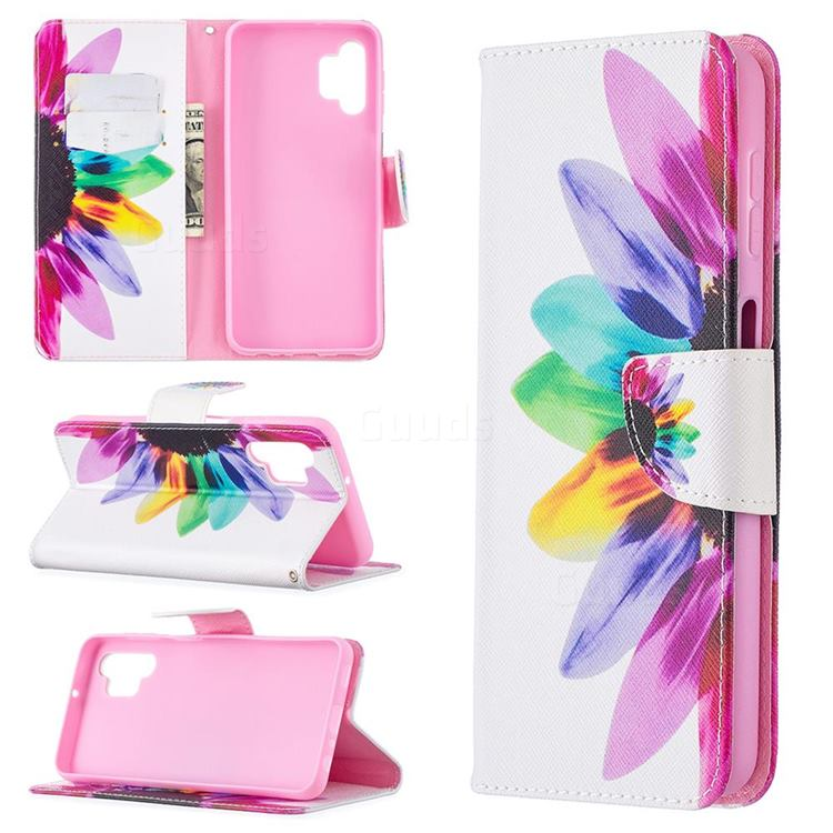Seven-color Flowers Leather Wallet Case for Samsung Galaxy A32 5G