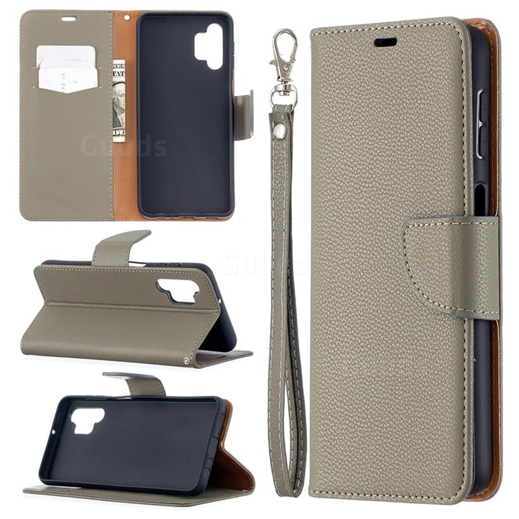Classic Luxury Litchi Leather Phone Wallet Case for Samsung Galaxy A32 5G - Gray