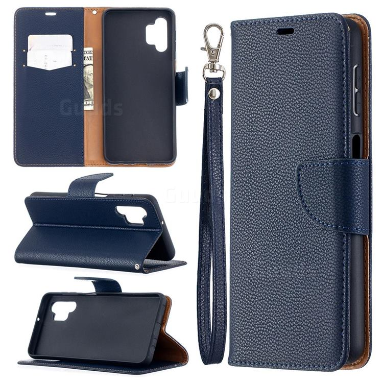 Classic Luxury Litchi Leather Phone Wallet Case for Samsung Galaxy A32 5G - Blue