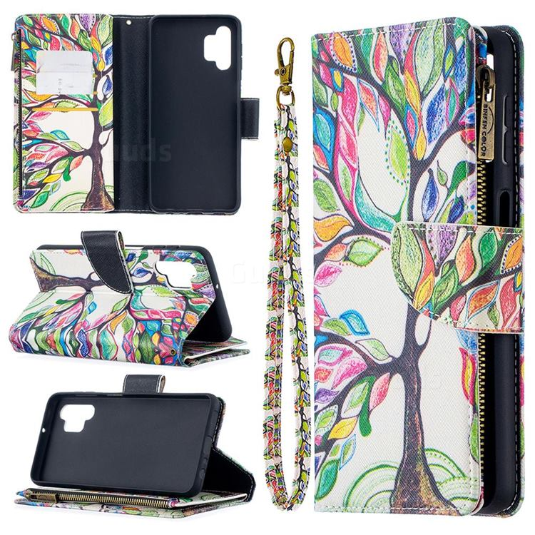 The Tree of Life Binfen Color BF03 Retro Zipper Leather Wallet Phone Case for Samsung Galaxy A32 5G
