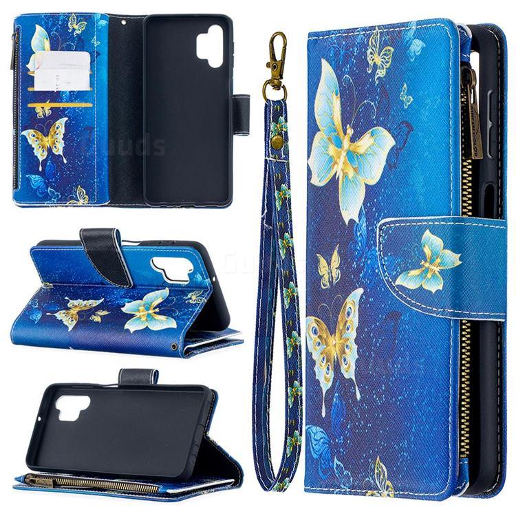 Golden Butterflies Binfen Color BF03 Retro Zipper Leather Wallet Phone Case for Samsung Galaxy A32 5G