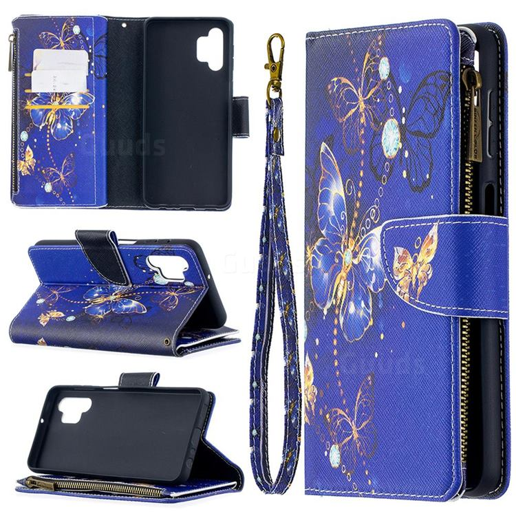 Purple Butterfly Binfen Color BF03 Retro Zipper Leather Wallet Phone Case for Samsung Galaxy A32 5G