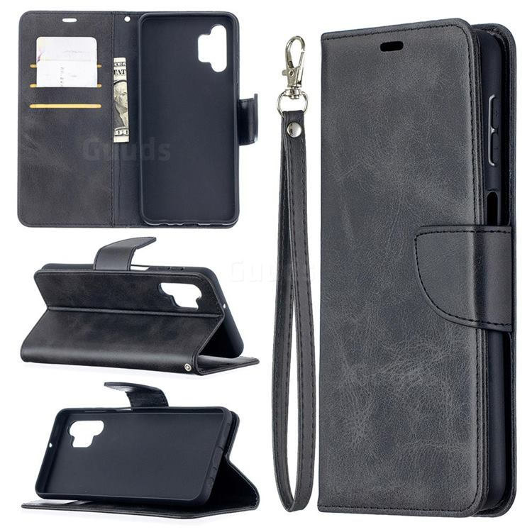 Classic Sheepskin PU Leather Phone Wallet Case for Samsung Galaxy A32 5G - Black