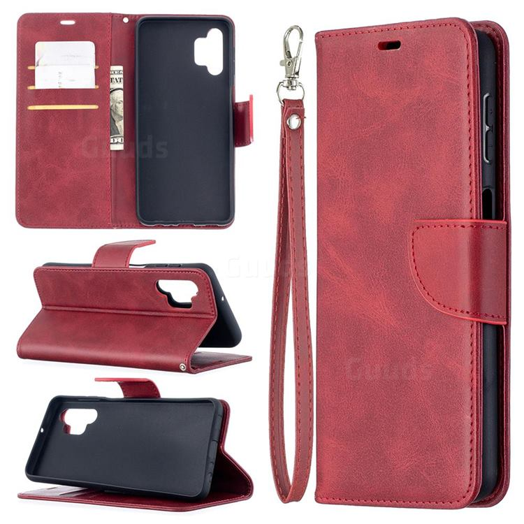 Classic Sheepskin PU Leather Phone Wallet Case for Samsung Galaxy A32 5G - Red