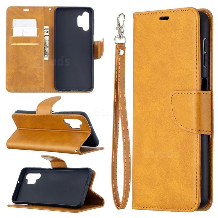 Classic Sheepskin PU Leather Phone Wallet Case for Samsung Galaxy A32 5G - Yellow