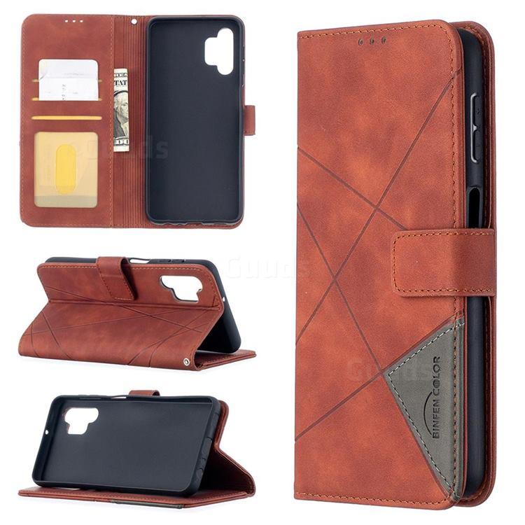 Binfen Color BF05 Prismatic Slim Wallet Flip Cover for Samsung Galaxy A32 5G - Brown