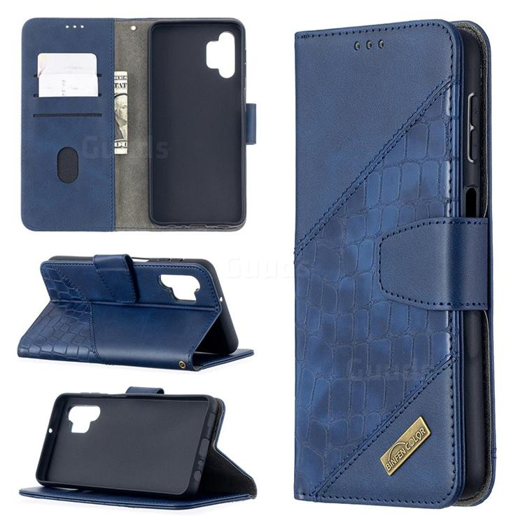 BinfenColor BF04 Color Block Stitching Crocodile Leather Case Cover for Samsung Galaxy A32 5G - Blue