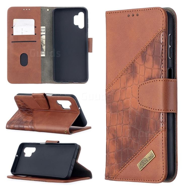 BinfenColor BF04 Color Block Stitching Crocodile Leather Case Cover for Samsung Galaxy A32 5G - Brown