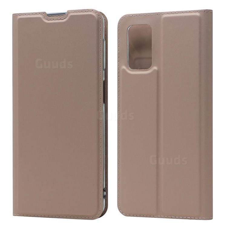 Ultra Slim Card Magnetic Automatic Suction Leather Wallet Case for Samsung Galaxy A32 5G - Rose Gold