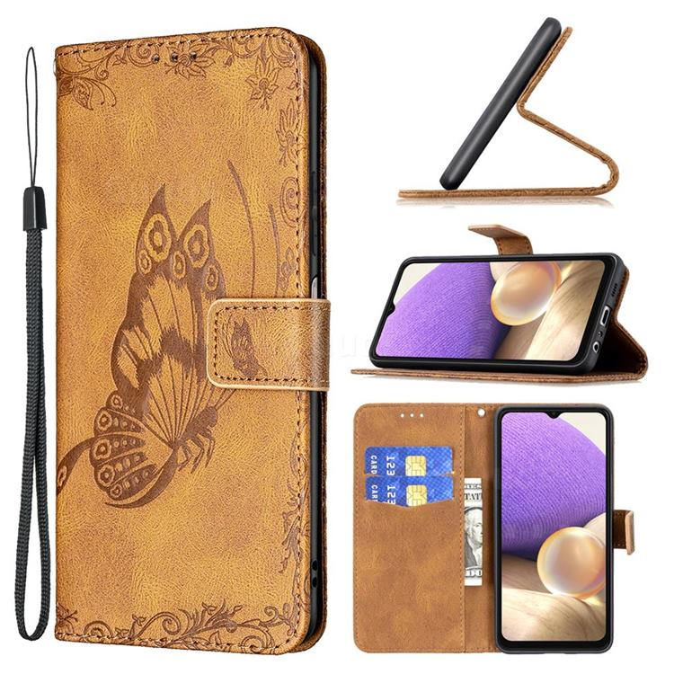 Binfen Color Imprint Vivid Butterfly Leather Wallet Case for Samsung Galaxy A32 5G - Brown