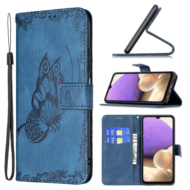 Binfen Color Imprint Vivid Butterfly Leather Wallet Case for Samsung Galaxy A32 5G - Blue