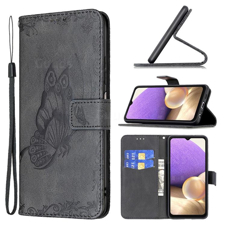 Binfen Color Imprint Vivid Butterfly Leather Wallet Case for Samsung Galaxy A32 5G - Black