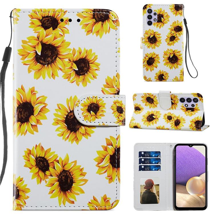 Sunflower Smooth Leather Phone Wallet Case for Samsung Galaxy A32 5G