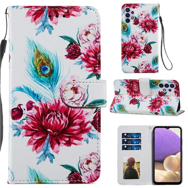 Peacock Flower Smooth Leather Phone Wallet Case for Samsung Galaxy A32 5G