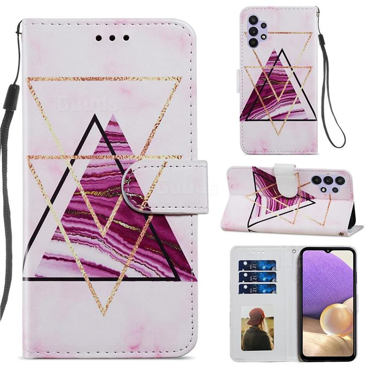 Three-color Marble Smooth Leather Phone Wallet Case for Samsung Galaxy A32 5G