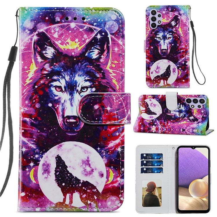 Wolf Totem Smooth Leather Phone Wallet Case for Samsung Galaxy A32 5G