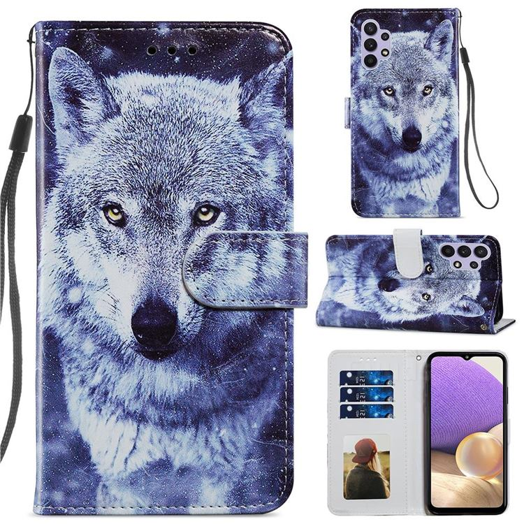 White Wolf Smooth Leather Phone Wallet Case for Samsung Galaxy A32 5G