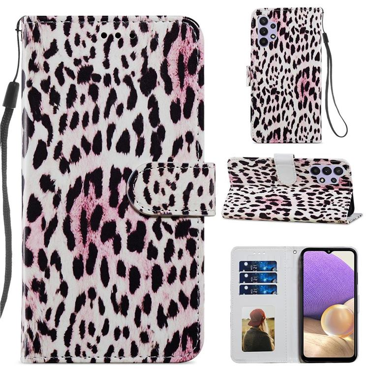Leopard Smooth Leather Phone Wallet Case for Samsung Galaxy A32 5G