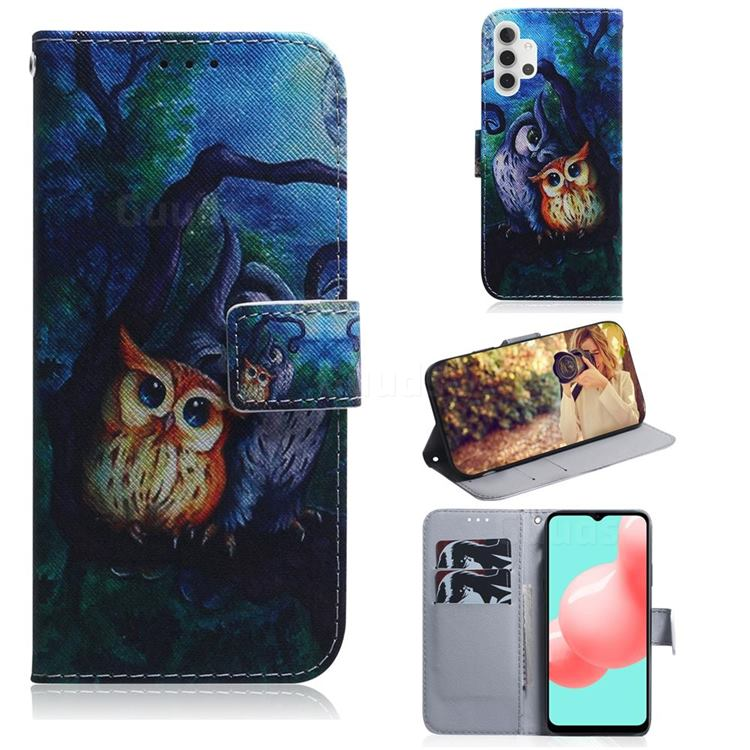 Oil Painting Owl PU Leather Wallet Case for Samsung Galaxy A32 5G