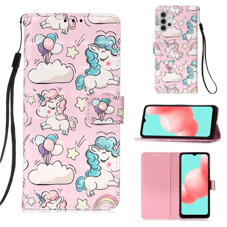 Angel Pony 3D Painted Leather Wallet Case for Samsung Galaxy A32 5G