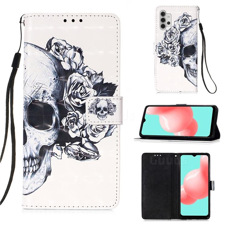 Skull Flower 3D Painted Leather Wallet Case for Samsung Galaxy A32 5G