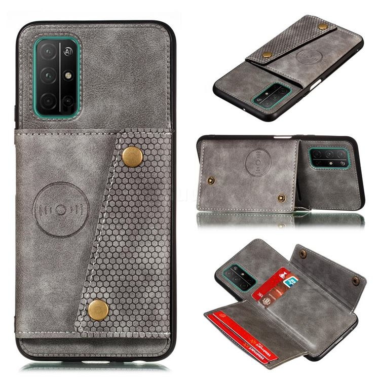 Retro Multifunction Card Slots Stand Leather Coated Phone Back Cover for Samsung Galaxy A32 5G - Gray