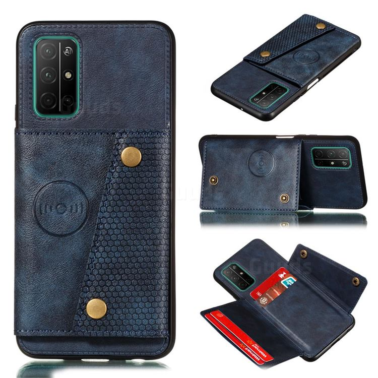 Retro Multifunction Card Slots Stand Leather Coated Phone Back Cover for Samsung Galaxy A32 5G - Blue