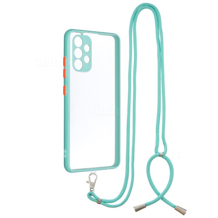 Necklace Cross-body Lanyard Strap Cord Phone Case Cover for Samsung Galaxy A32 4G - Blue