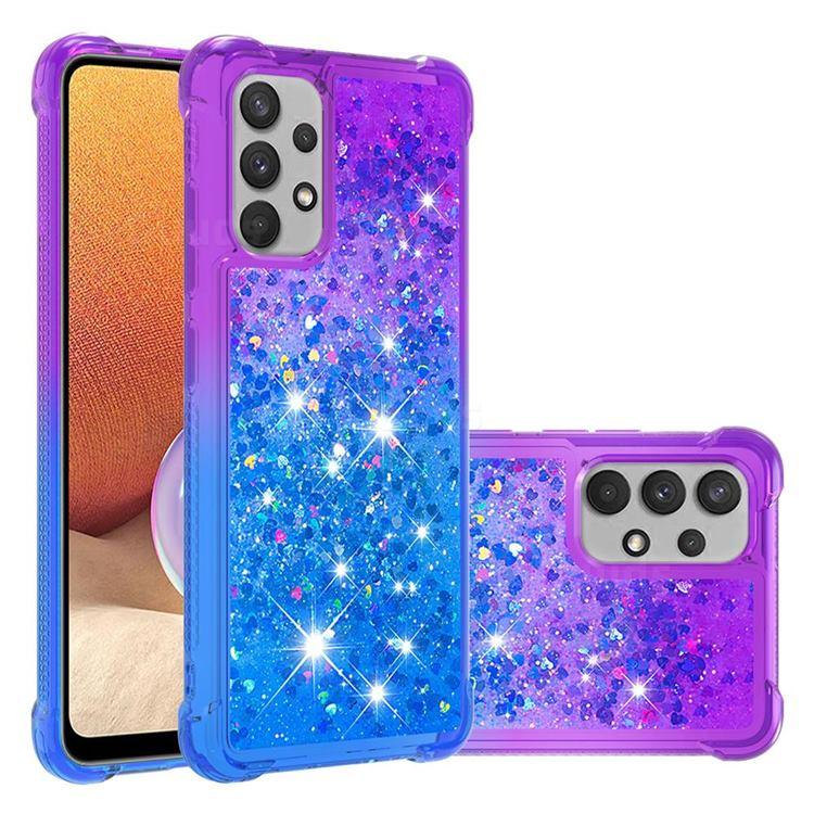 Rainbow Gradient Liquid Glitter Quicksand Sequins Phone Case for Samsung Galaxy A32 4G - Purple Blue