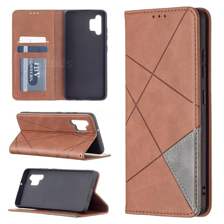 Prismatic Slim Magnetic Sucking Stitching Wallet Flip Cover for Samsung Galaxy A32 4G - Brown