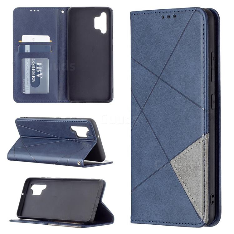 Prismatic Slim Magnetic Sucking Stitching Wallet Flip Cover for Samsung Galaxy A32 4G - Blue