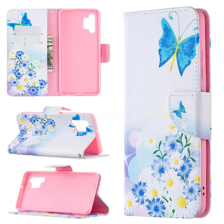Butterflies Flowers Leather Wallet Case for Samsung Galaxy A32 4G