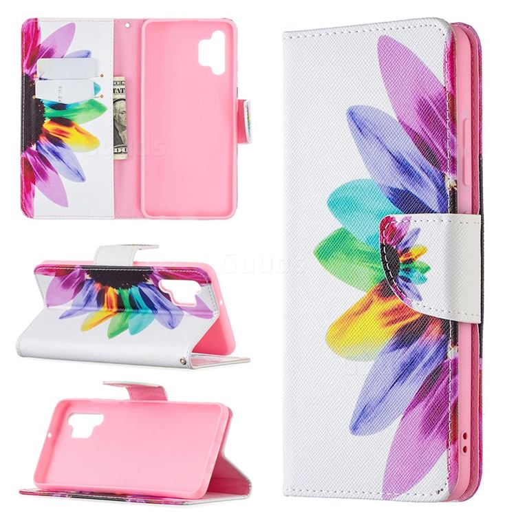 Seven-color Flowers Leather Wallet Case for Samsung Galaxy A32 4G