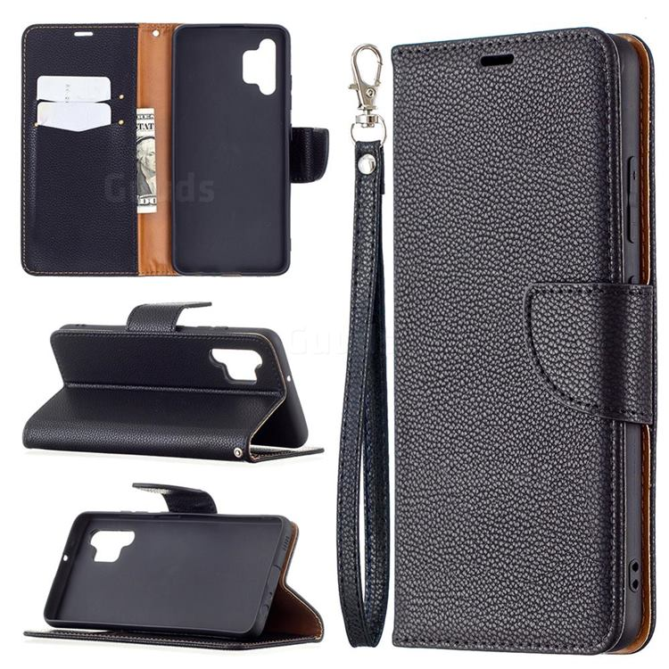 Classic Luxury Litchi Leather Phone Wallet Case for Samsung Galaxy A32 4G - Black