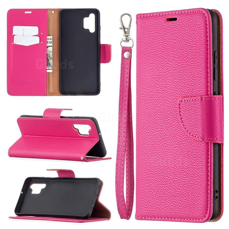 Classic Luxury Litchi Leather Phone Wallet Case for Samsung Galaxy A32 4G - Rose