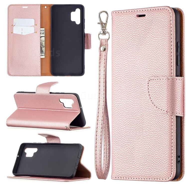 Classic Luxury Litchi Leather Phone Wallet Case for Samsung Galaxy A32 4G - Golden