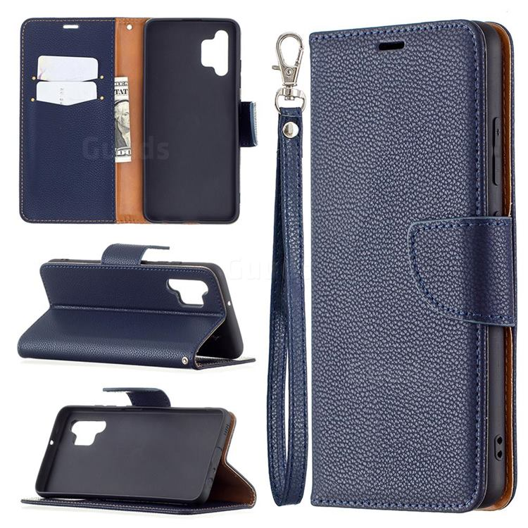 Classic Luxury Litchi Leather Phone Wallet Case for Samsung Galaxy A32 4G - Blue