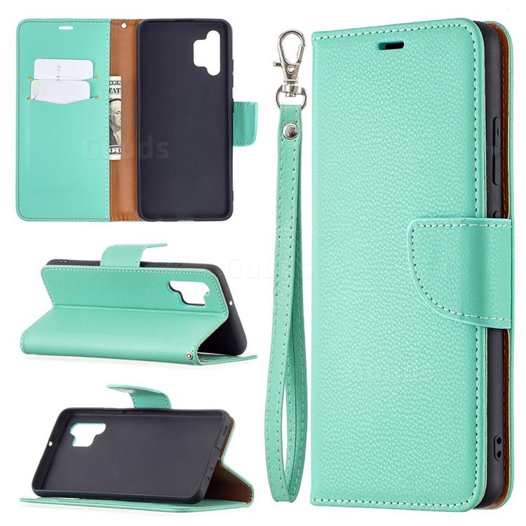 Classic Luxury Litchi Leather Phone Wallet Case for Samsung Galaxy A32 4G - Green