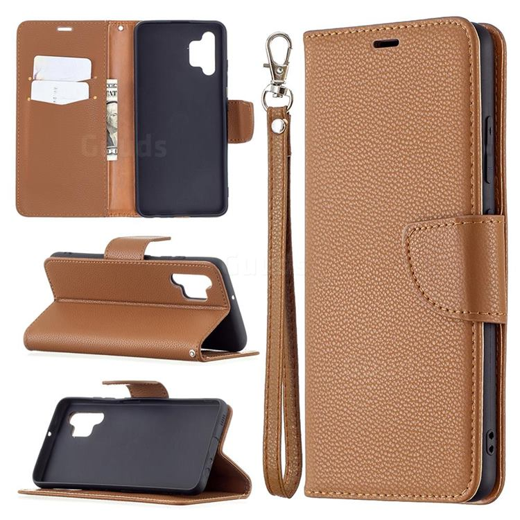 Classic Luxury Litchi Leather Phone Wallet Case for Samsung Galaxy A32 4G - Brown