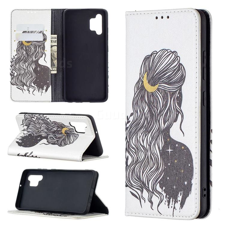 Girl with Long Hair Slim Magnetic Attraction Wallet Flip Cover for Samsung Galaxy A32 4G