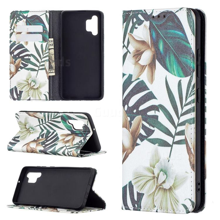 Flower Leaf Slim Magnetic Attraction Wallet Flip Cover for Samsung Galaxy A32 4G