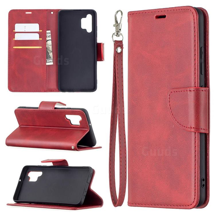 Classic Sheepskin PU Leather Phone Wallet Case for Samsung Galaxy A32 4G - Red