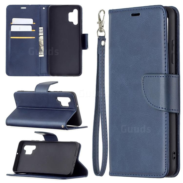 Classic Sheepskin PU Leather Phone Wallet Case for Samsung Galaxy A32 4G - Blue